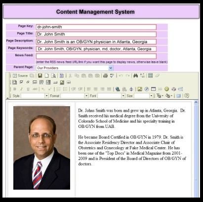 Content management system example for physicians and medical practices