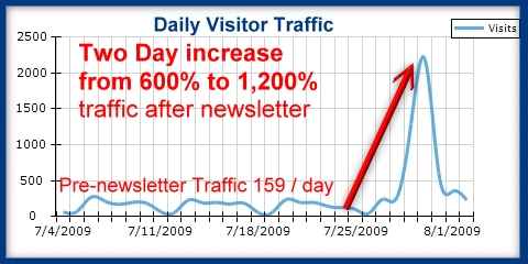 Daily web site traffic increase by Patient Newsletter