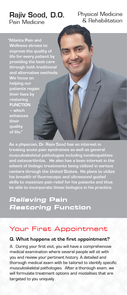 Panel 5 of Brochure of Atlanta Pain and Wellness