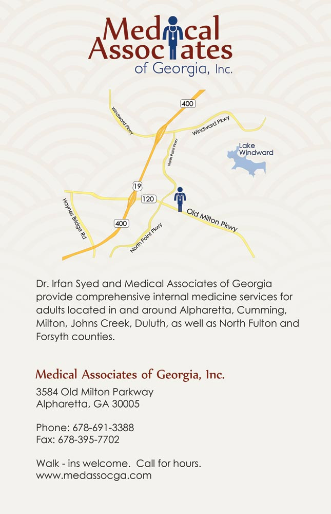 Back  of Brochure of Medical Associates of Georgia