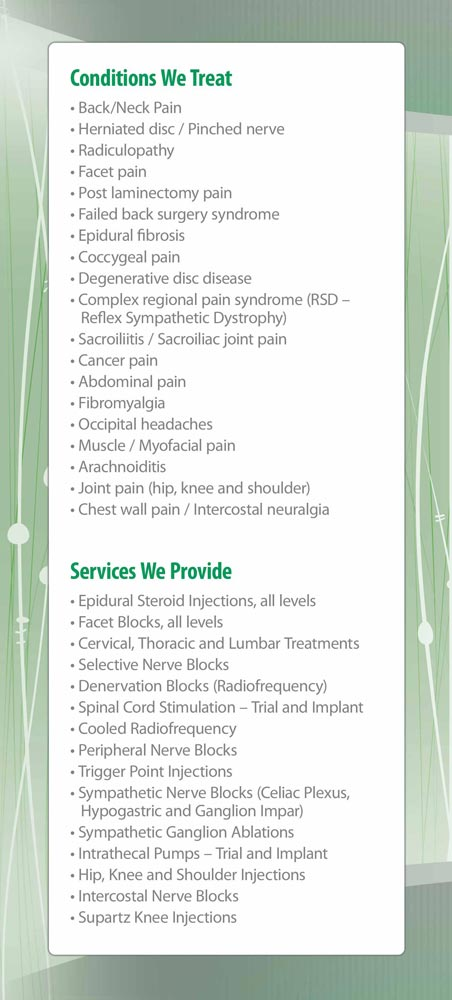 Panel 2 of Brochure of Northside Spine & Pain Specialists